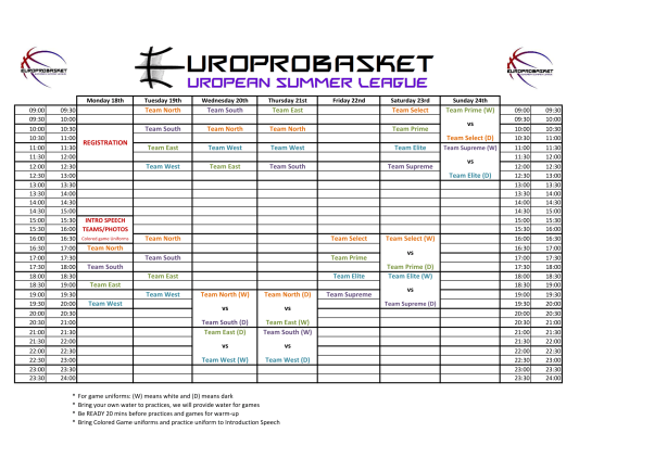 European Summer League Schedule-1