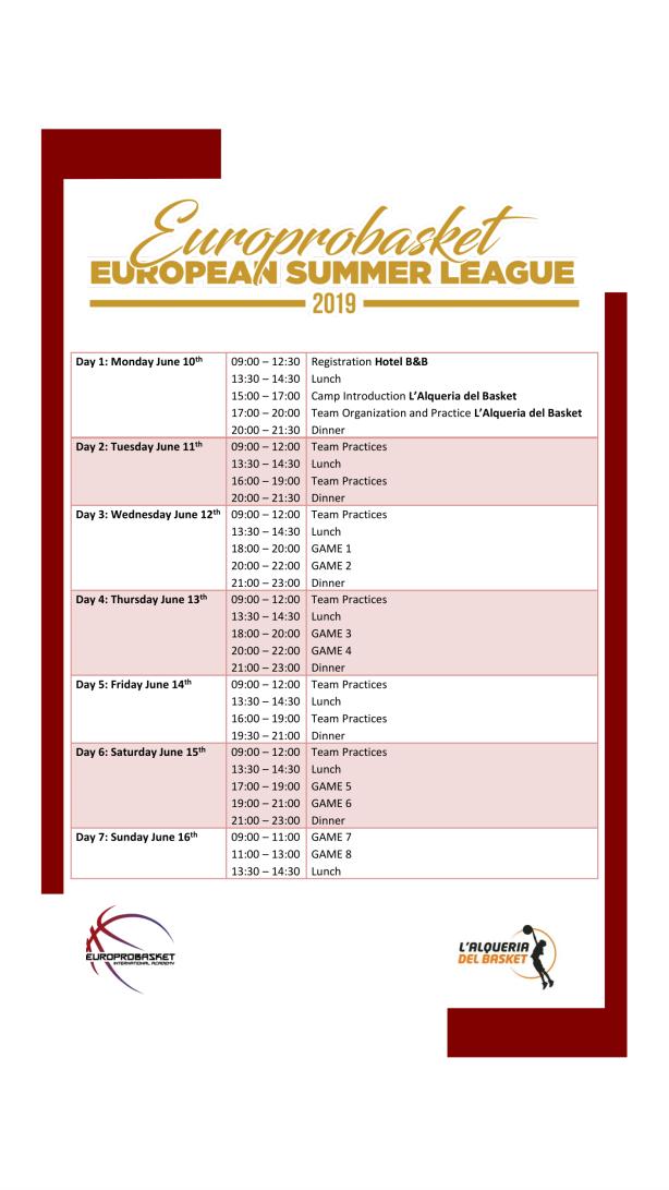 European Summer League Schedule 2019