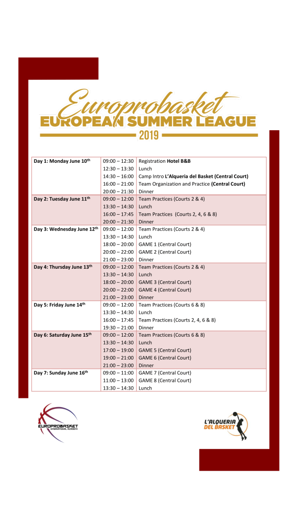 European Summer League Schedule 2019-1