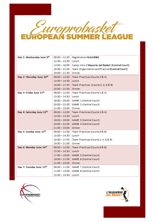 European Summer League Schedule 2021